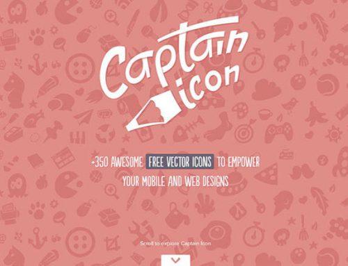 Kostenloses Set mit 350+ Flat Icons von Captain Icon
